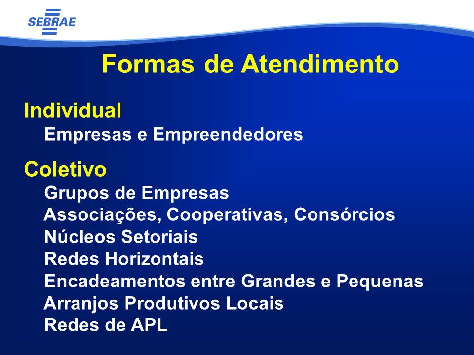 Formas de Atendimento Individual Empresas e Empreendedores Coletivo Grupos de Empresas Associações, Cooperativas, Consórcios Núcleos Setoriais Redes Horizontais Encadeamentos entre Grandes e Pequenas Arranjos Produtivos Locais Redes de APL