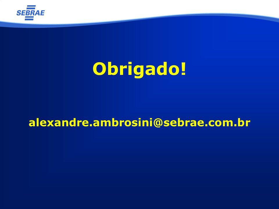 Obrigado! alexandre.ambrosini@sebrae.com.br