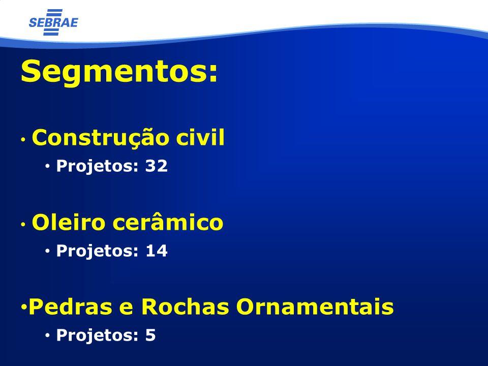 Segmentos: Construção civil Projetos: 32 Oleiro cerâmico Projetos: 14 Pedras e Rochas Ornamentais Projetos: 5