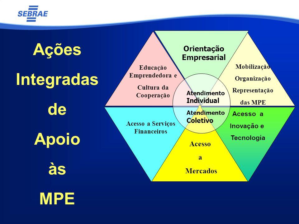 Acesso a Inovação e Tecnología Mobilização Organização Representação das MPE Acesso a Mercados Acesso a Serviços Financeiros Educação Emprendedora e Cultura da Cooperação Orientação Empresarial Atendimento Individual Atendimento Coletivo Ações Integradas de Apoio às MPE