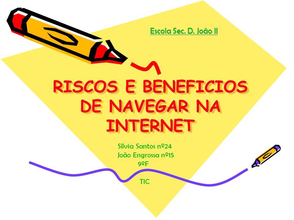 RISCOS E BENEFICIOS DE NAVEGAR NA INTERNET Escola Sec. D. João II Sílvia Santos nº24 João Engrossa nº15 9ºF TIC