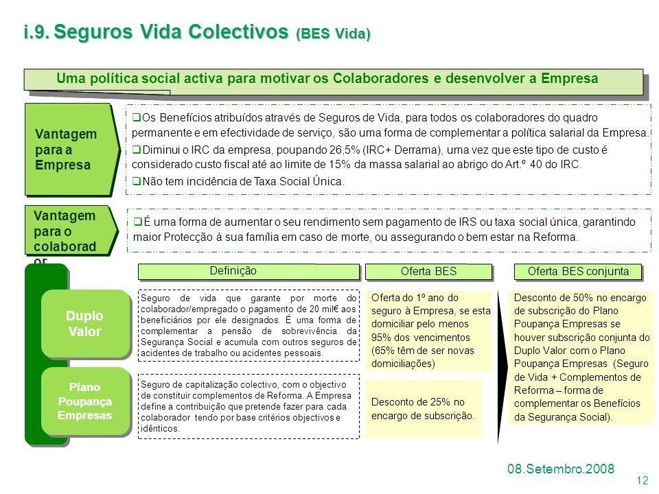 12 08.Setembro.2008 Uma política social activa para motivar os Colaboradores e desenvolver a Empresa Vantagem para o colaborad or Vantagem para a Empr