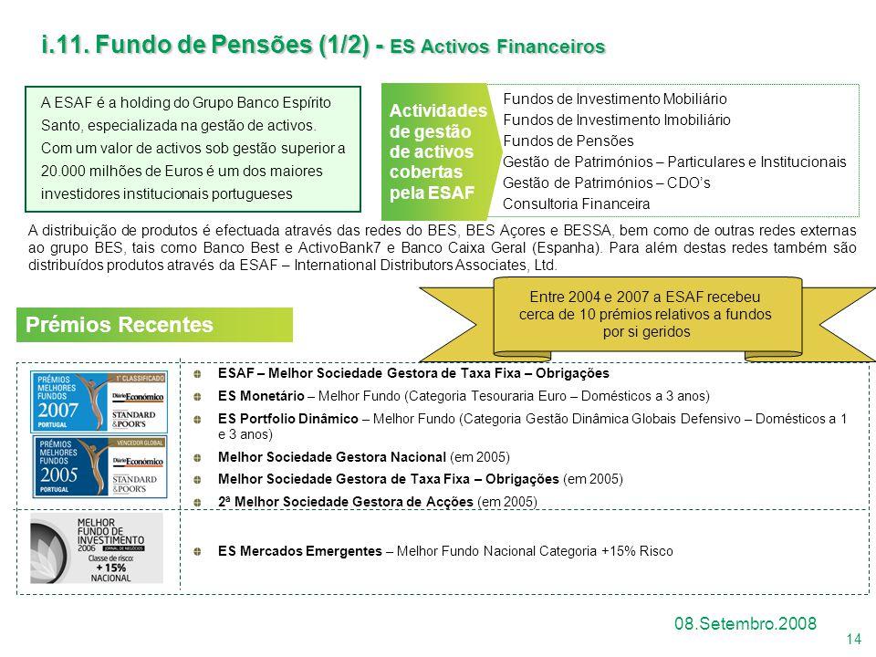 14 08.Setembro.2008 Fundos de Investimento Mobiliário Fundos de Investimento Imobiliário Fundos de Pensões Gestão de Patrimónios – Particulares e Inst