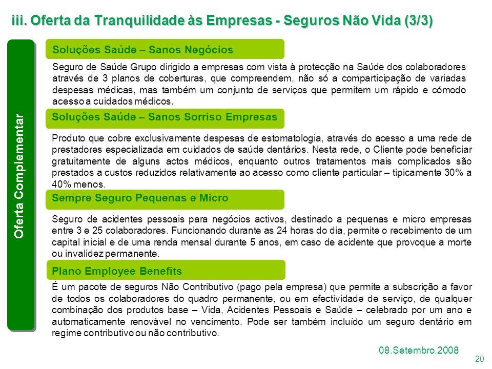 20 08.Setembro.2008 Soluções Saúde – Sanos Sorriso Empresas Produto que cobre exclusivamente despesas de estomatologia, através do acesso a uma rede d