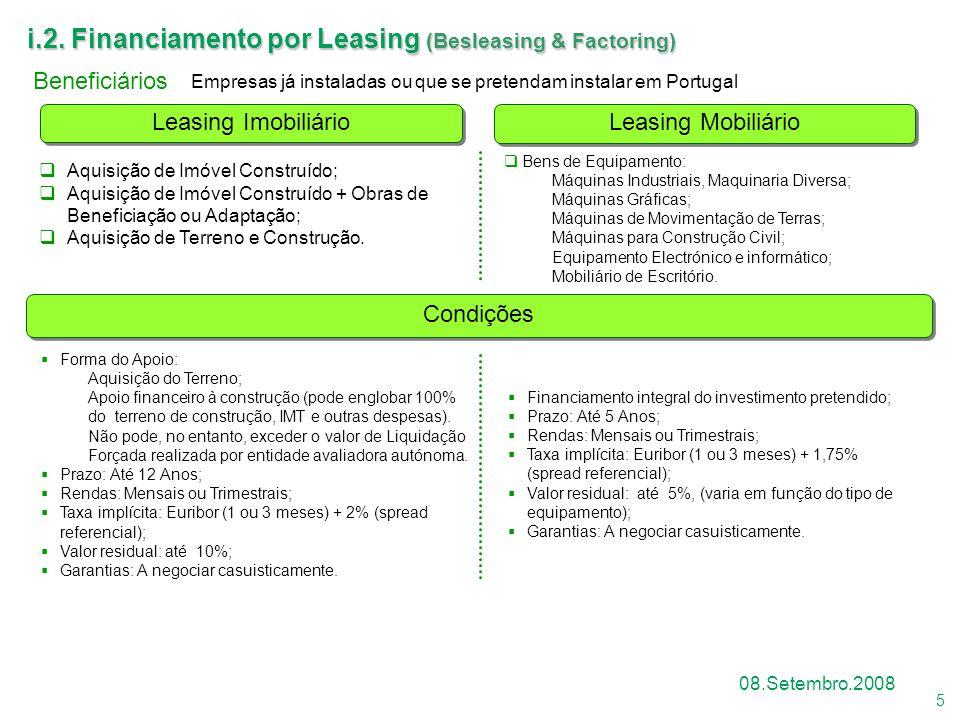 5 08.Setembro.2008 Leasing Mobiliário Leasing Imobiliário i.2. Financiamento por Leasing (Besleasing & Factoring)  Financiamento integral do investim