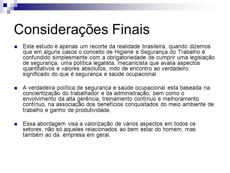 Considerações Finais Este estudo é apenas um recorte da realidade brasileira, quando dizemos que em alguns casos o conceito de Higiene e Segurança do