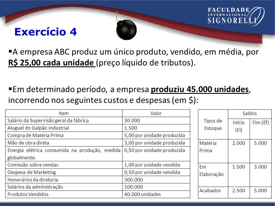  A empresa ABC produz um único produto, vendido, em média, por R$ 25,00 cada unidade (preço líquido de tributos).  Em determinado período, a empresa