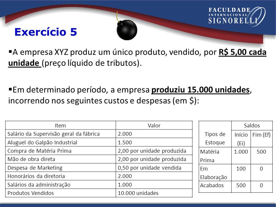  A empresa XYZ produz um único produto, vendido, por R$ 5,00 cada unidade (preço líquido de tributos).  Em determinado período, a empresa produziu 1