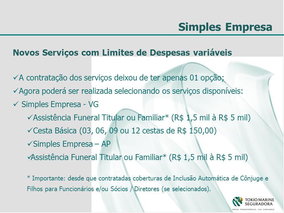 Simples Empresa Novos Serviços com Limites de Despesas variáveis A contratação dos serviços deixou de ter apenas 01 opção; Agora poderá ser realizada