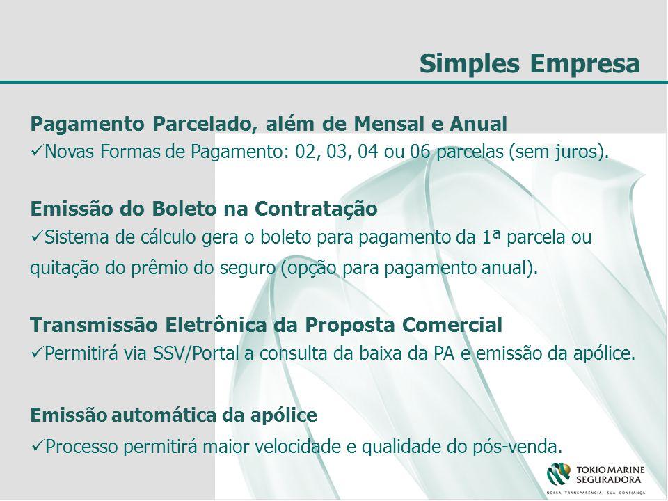 Simples Empresa Pagamento Parcelado, além de Mensal e Anual Novas Formas de Pagamento: 02, 03, 04 ou 06 parcelas (sem juros). Emissão do Boleto na Con
