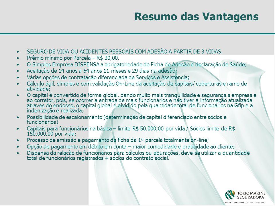 Resumo das Vantagens SEGURO DE VIDA OU ACIDENTES PESSOAIS COM ADESÃO A PARTIR DE 3 VIDAS.