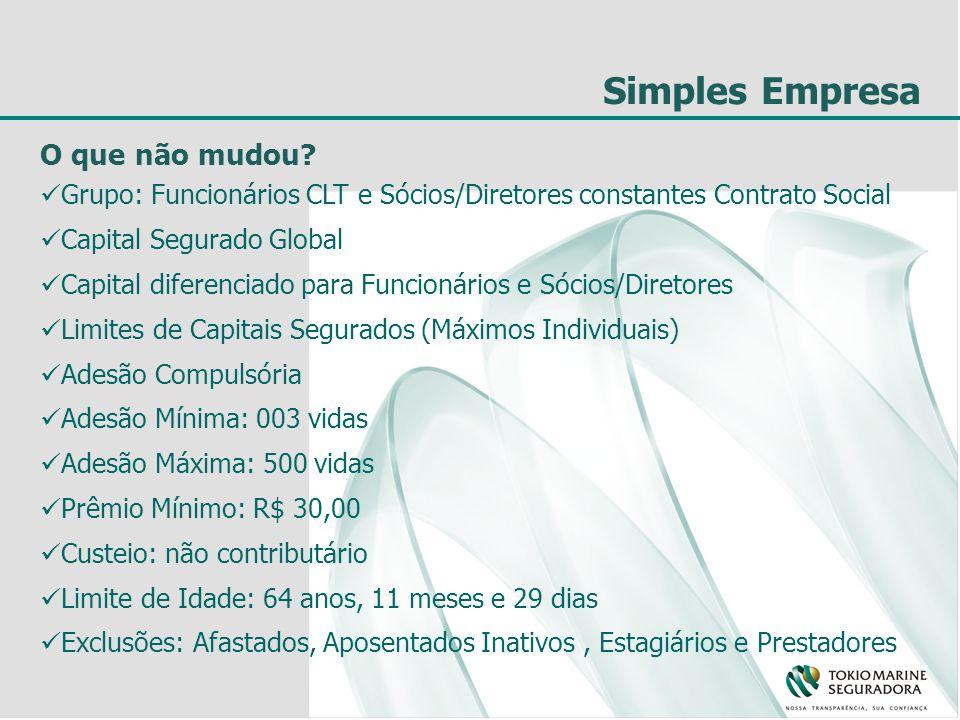 O que não mudou? Grupo: Funcionários CLT e Sócios/Diretores constantes Contrato Social Capital Segurado Global Capital diferenciado para Funcionários