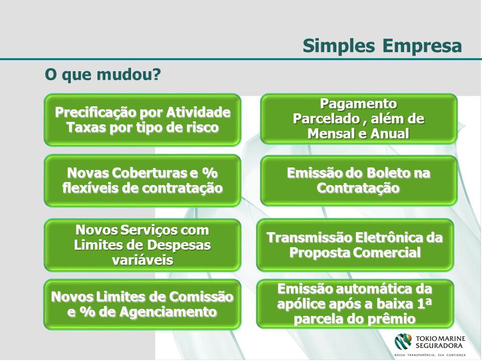 Simples Empresa Transmissão Eletrônica da Proposta Comercial Precificação por Atividade Taxas por tipo de risco Emissão do Boleto na Contratação Novas