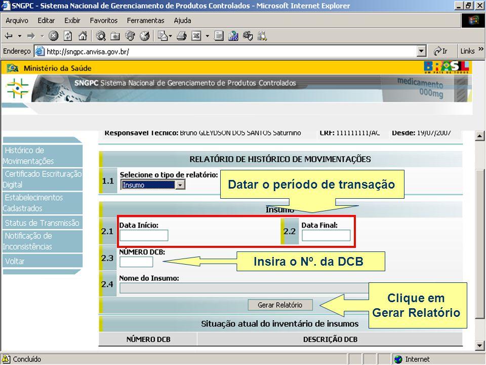 Datar o período de transação Clique em Gerar Relatório Insira o Nº. da DCB