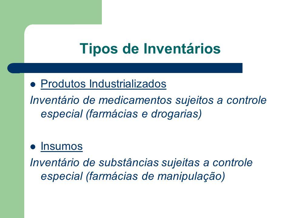 Tipos de Inventários Produtos Industrializados Inventário de medicamentos sujeitos a controle especial (farmácias e drogarias) Insumos Inventário de s