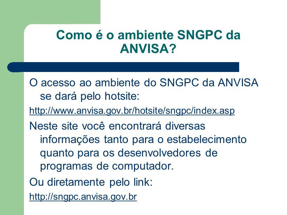Como é o ambiente SNGPC da ANVISA? O acesso ao ambiente do SNGPC da ANVISA se dará pelo hotsite: http://www.anvisa.gov.br/hotsite/sngpc/index.asp Nest