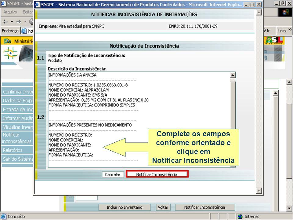 Complete os campos conforme orientado e clique em Notificar Inconsistência