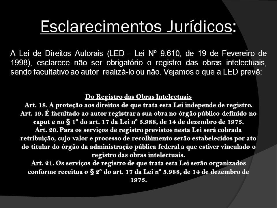 Esclarecimentos Jurídicos: A Lei de Direitos Autorais (LED - Lei Nº 9.610, de 19 de Fevereiro de 1998), esclarece não ser obrigatório o registro das o