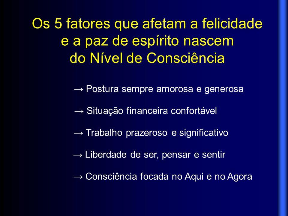 Os 5 fatores que afetam a felicidade e a paz de espírito nascem do Nível de Consciência → Postura sempre amorosa e generosa → Situação financeira conf