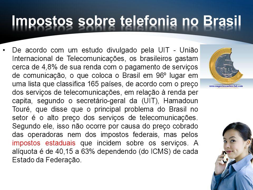 De acordo com um estudo divulgado pela UIT - União Internacional de Telecomunicações, os brasileiros gastam cerca de 4,8% de sua renda com o pagamento