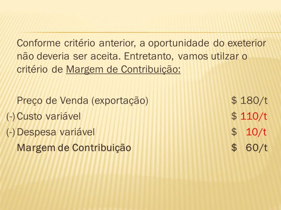 Aceitando a oferta internacional, a empresa chegaria no seguinte resultado: DescriçãoR$ Vendas: 500.000 t x $ 260/t$ 130.000.000 Vendas: 200.000 t x $ 180/t$ 36.000.000 Custo dos Produtos Vendidos$ 112.000.000 Fixos$ 35.000.000 Variáveis: 700.000 t x $ 110/t$ 77.000.000 Lucro Bruto$ 54.000.000 Despesas$ 35.500.000 Fixos$ 21.000.000 Variáveis: 700.000 t x $ 10/t$ 7.000.000 Variáveis: 500.000 t x $ 15/t$ 7.500.000 Lucro Líquido$ 18.500.000