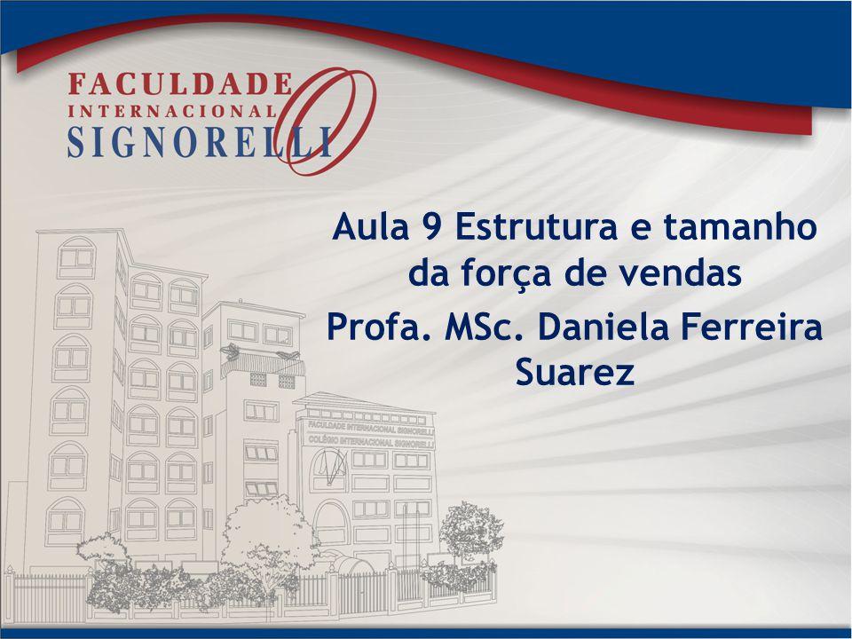 Aula 9 Estrutura e tamanho da força de vendas Profa. MSc. Daniela Ferreira Suarez
