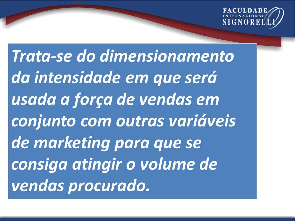 Trata-se do dimensionamento da intensidade em que será usada a força de vendas em conjunto com outras variáveis de marketing para que se consiga ating
