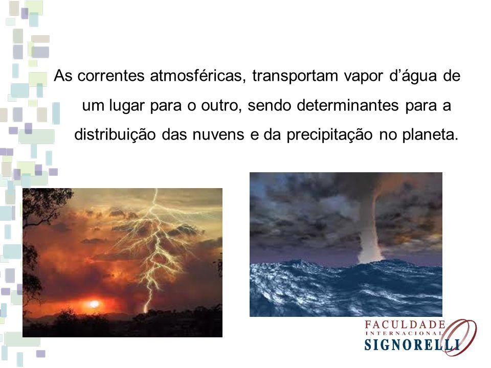 As correntes atmosféricas, transportam vapor d'água de um lugar para o outro, sendo determinantes para a distribuição das nuvens e da precipitação no