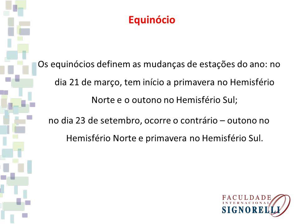 Os equinócios definem as mudanças de estações do ano: no dia 21 de março, tem início a primavera no Hemisfério Norte e o outono no Hemisfério Sul; no