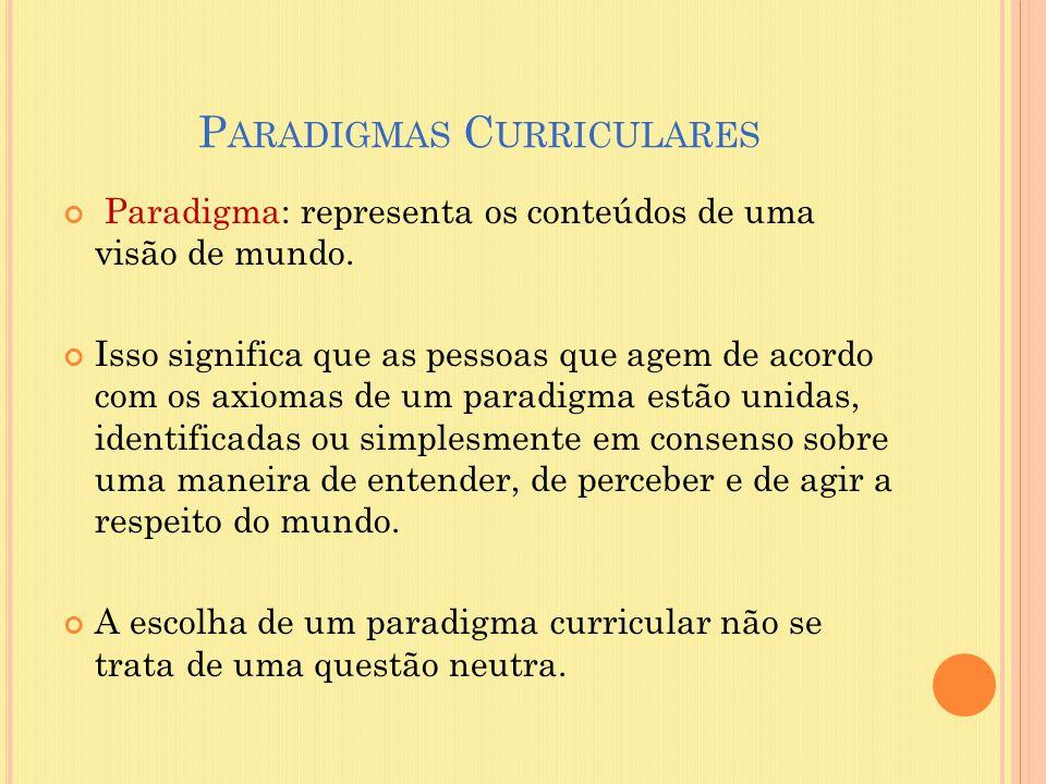 P ARADIGMAS C URRICULARES Paradigma: representa os conteúdos de uma visão de mundo. Isso significa que as pessoas que agem de acordo com os axiomas de