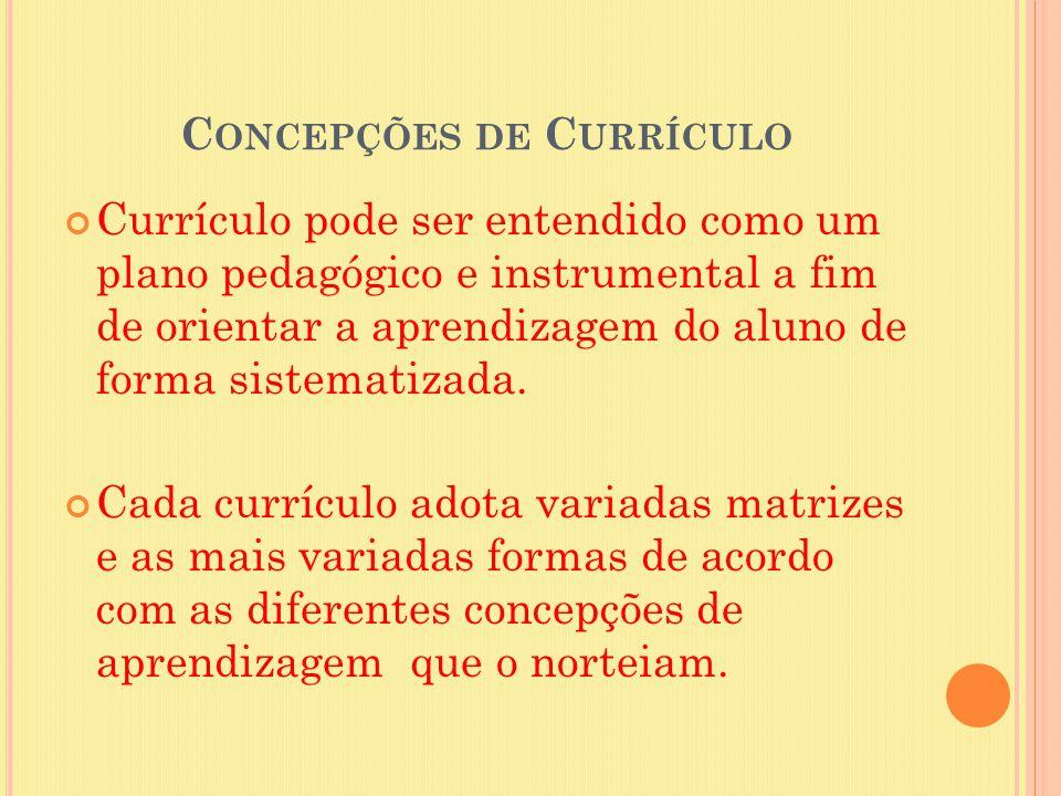 C ONCEPÇÕES DE C URRÍCULO Currículo pode ser entendido como um plano pedagógico e instrumental a fim de orientar a aprendizagem do aluno de forma sist