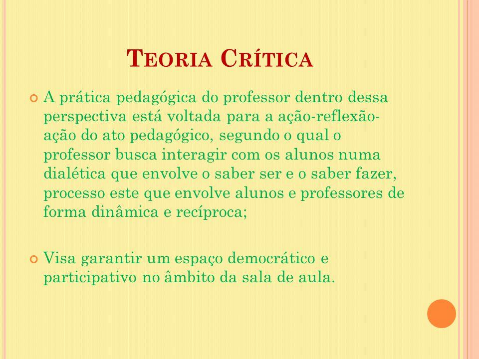 T EORIA C RÍTICA A prática pedagógica do professor dentro dessa perspectiva está voltada para a ação-reflexão- ação do ato pedagógico, segundo o qual