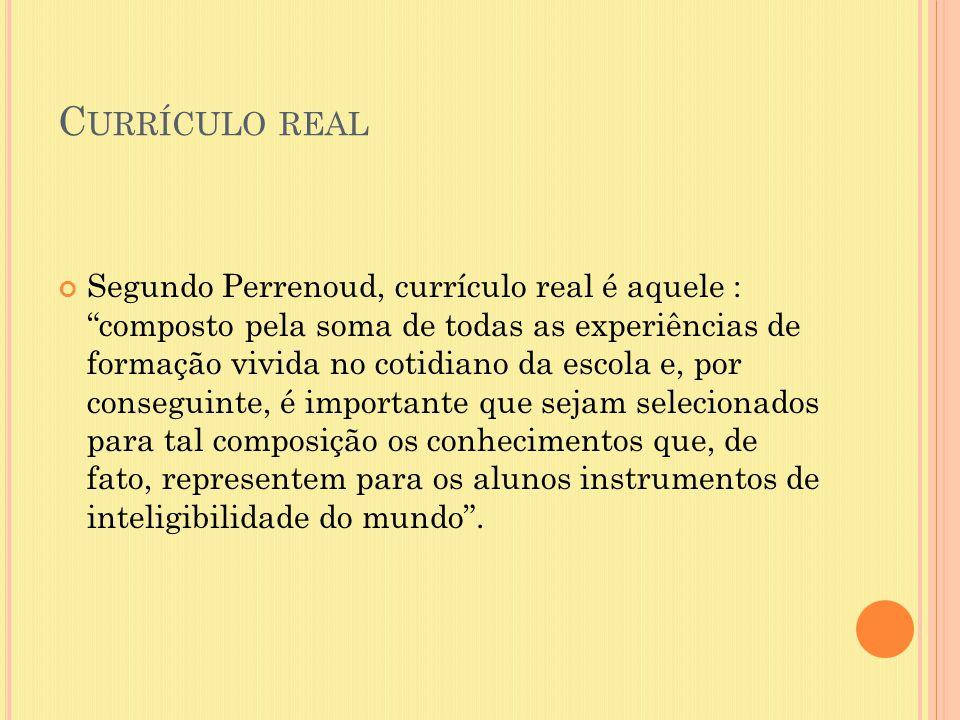 """C URRÍCULO REAL Segundo Perrenoud, currículo real é aquele : """"composto pela soma de todas as experiências de formação vivida no cotidiano da escola e,"""