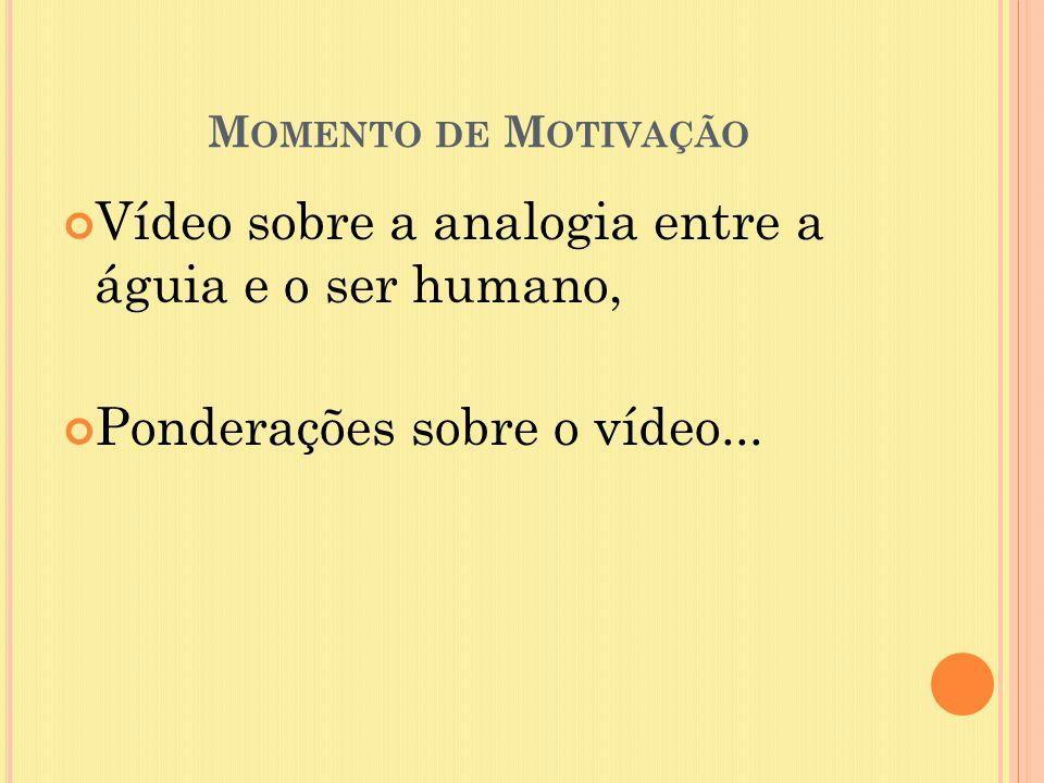 M OMENTO DE M OTIVAÇÃO Vídeo sobre a analogia entre a águia e o ser humano, Ponderações sobre o vídeo...