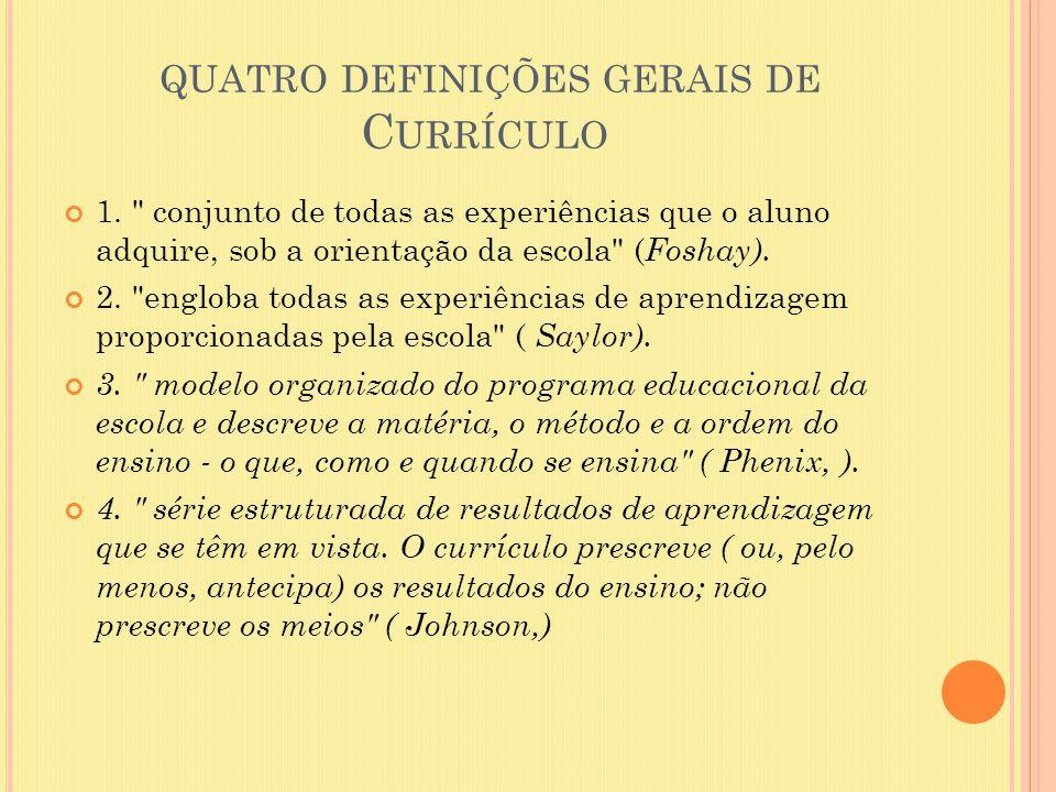 QUATRO DEFINIÇÕES GERAIS DE C URRÍCULO 1.