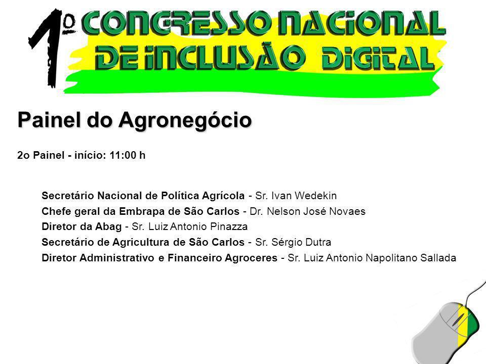 Painel do Agronegócio 2o Painel - início: 11:00 h Secretário Nacional de Política Agrícola - Sr. Ivan Wedekin Chefe geral da Embrapa de São Carlos - D