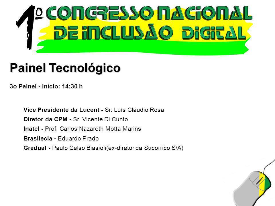 Painel Tecnológico 3o Painel - início: 14:30 h Vice Presidente da Lucent - Sr. Luís Cláudio Rosa Diretor da CPM - Sr. Vicente Di Cunto Inatel - Prof.