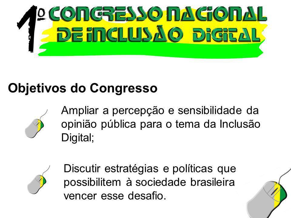 Ampliar a percepção e sensibilidade da opinião pública para o tema da Inclusão Digital; Discutir estratégias e políticas que possibilitem à sociedade
