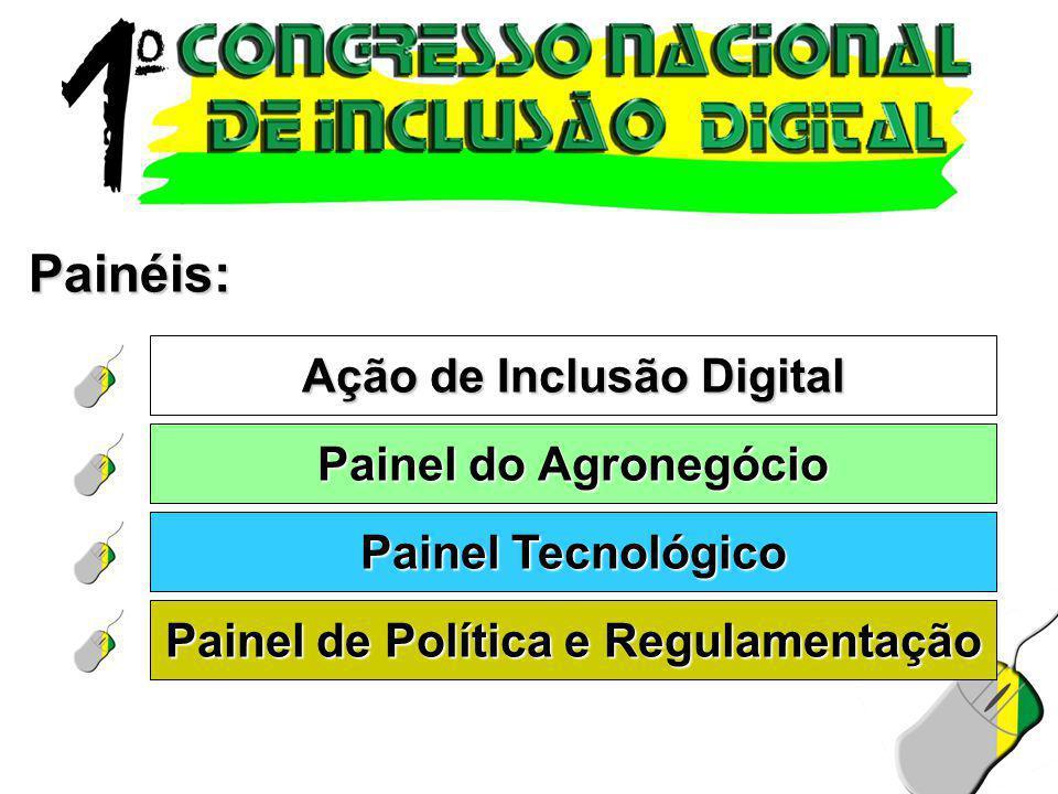 Painéis: Ação de Inclusão Digital Painel do Agronegócio Painel Tecnológico Painel de Política e Regulamentação