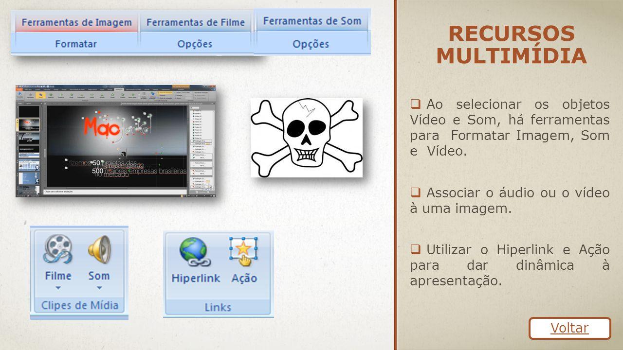 RECURSOS MULTIMÍDIA  Ao selecionar os objetos Vídeo e Som, há ferramentas para Formatar Imagem, Som e Vídeo.  Associar o áudio ou o vídeo à uma imag