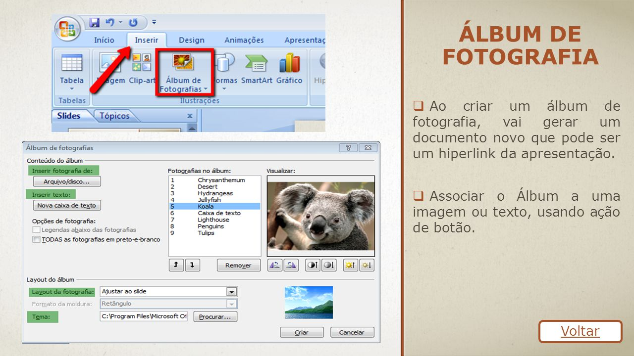 ÁLBUM DE FOTOGRAFIA  Ao criar um álbum de fotografia, vai gerar um documento novo que pode ser um hiperlink da apresentação.  Associar o Álbum a uma