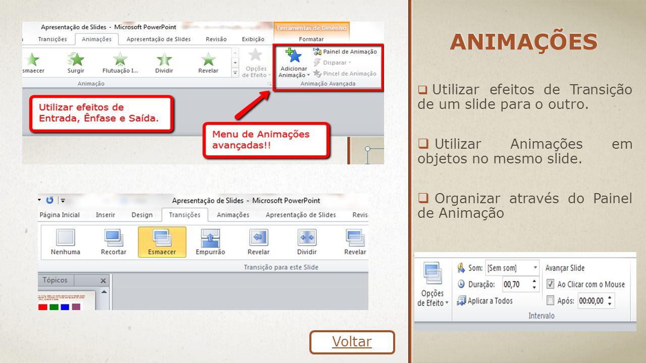 ANIMAÇÕES  Utilizar efeitos de Transição de um slide para o outro.  Utilizar Animações em objetos no mesmo slide.  Organizar através do Painel de A