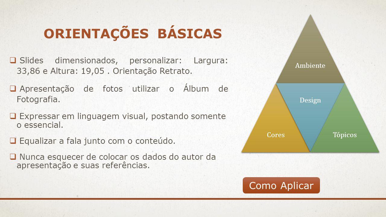 ORIENTAÇÕES BÁSICAS  Slides dimensionados, personalizar: Largura: 33,86 e Altura: 19,05. Orientação Retrato.  Apresentação de fotos utilizar o Álbum