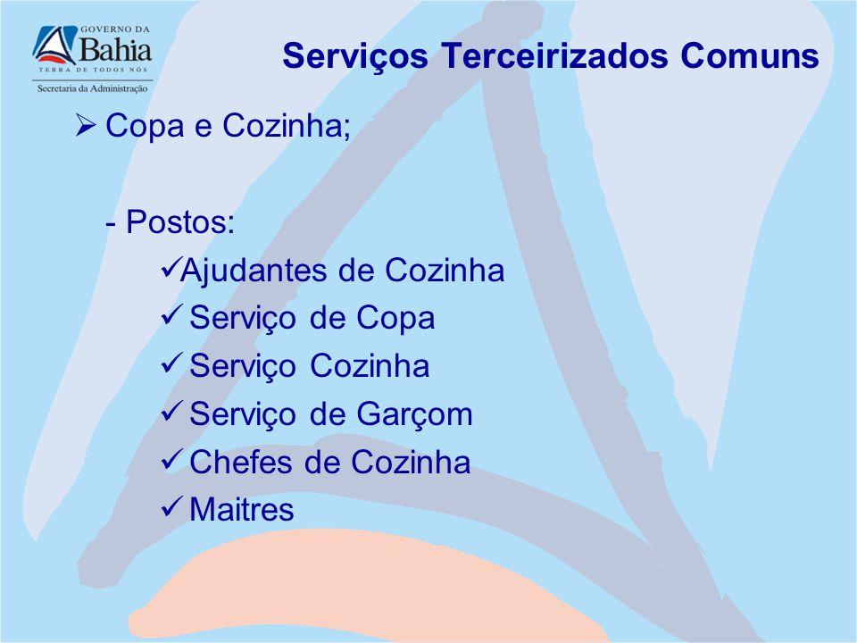 Serviços Terceirizados Comuns  Copa e Cozinha; - Postos: Ajudantes de Cozinha Serviço de Copa Serviço Cozinha Serviço de Garçom Chefes de Cozinha Mai