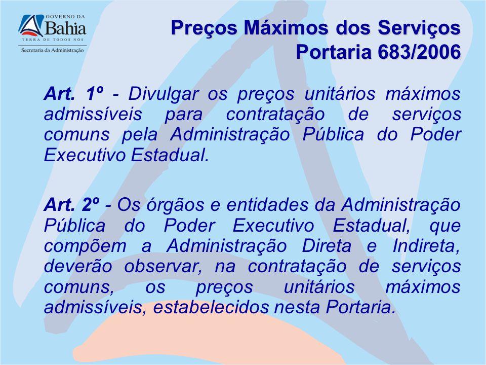 Preços Máximos dos Serviços Portaria 683/2006 Art. 1º - Divulgar os preços unitários máximos admissíveis para contratação de serviços comuns pela Admi