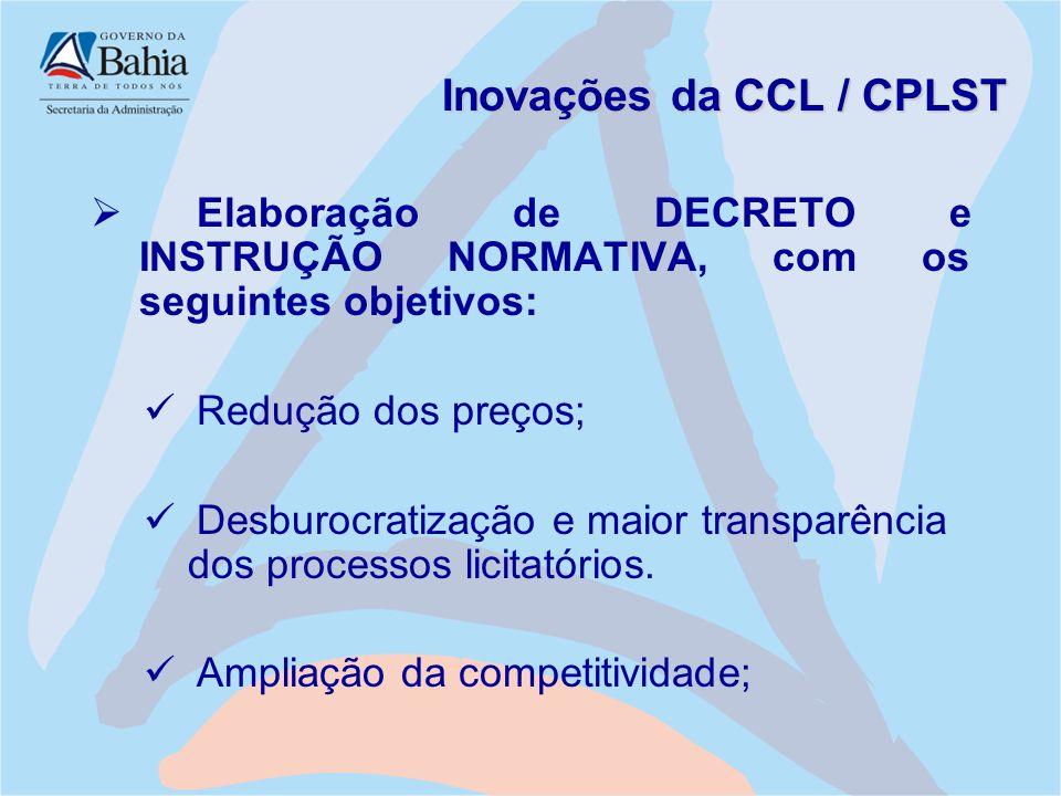 Inovações da CCL / CPLST  Elaboração de DECRETO e INSTRUÇÃO NORMATIVA, com os seguintes objetivos: Redução dos preços; Desburocratização e maior tran