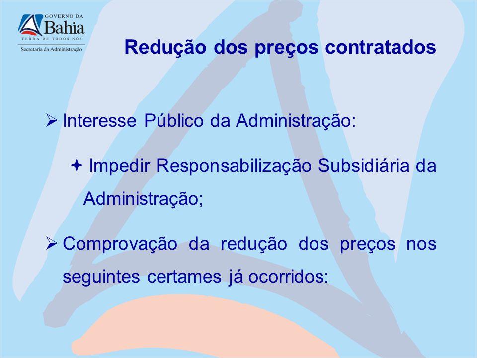 Redução dos preços contratados  Interesse Público da Administração:  Impedir Responsabilização Subsidiária da Administração;  Comprovação da reduçã