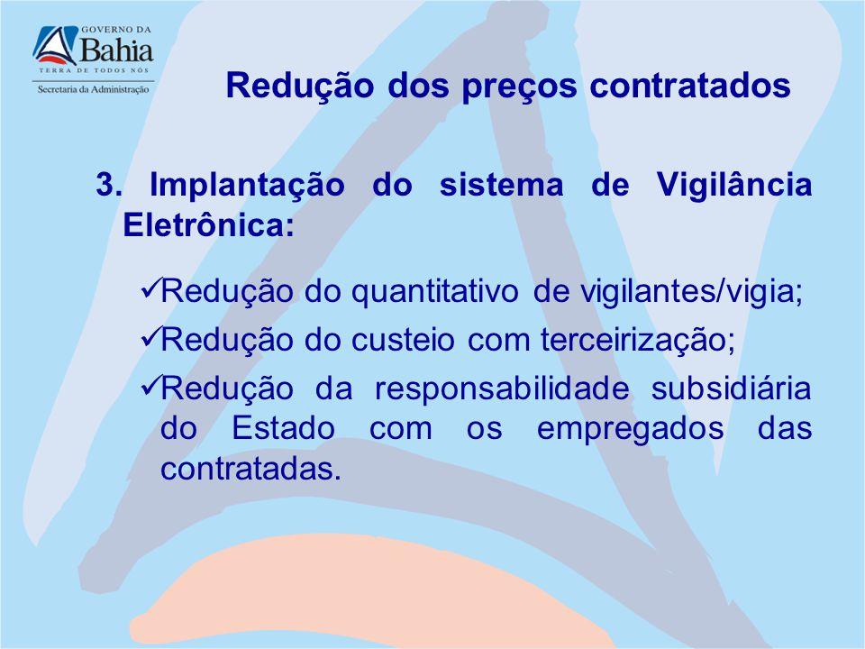Redução dos preços contratados 3. Implantação do sistema de Vigilância Eletrônica: Redução do quantitativo de vigilantes/vigia; Redução do custeio com