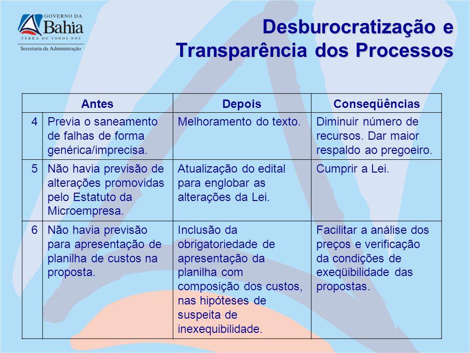 Desburocratização e Transparência dos Processos AntesDepoisConseqüências 4Previa o saneamento de falhas de forma genérica/imprecisa. Melhoramento do t