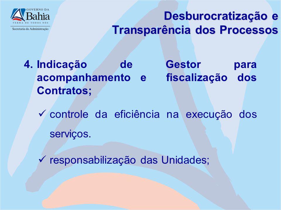 Desburocratização e Transparência dos Processos 4.Indicação de Gestor para acompanhamento e fiscalização dos Contratos; controle da eficiência na exec